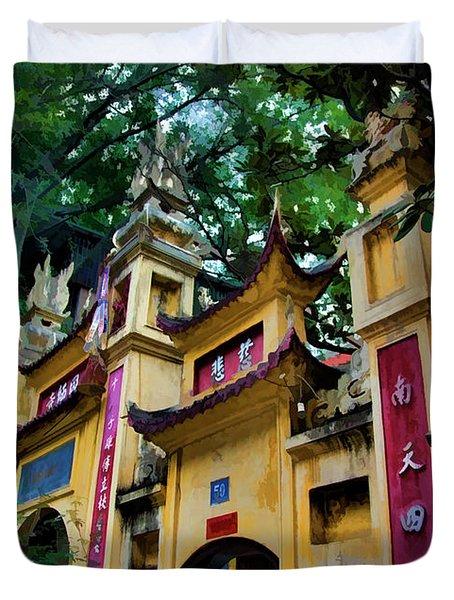 Pagoda Exterior Hanoi Paint  Duvet Cover