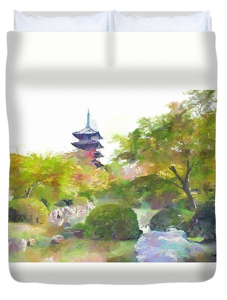 Duvet Cover featuring the painting Pagoda Garden by Wayne Pascall