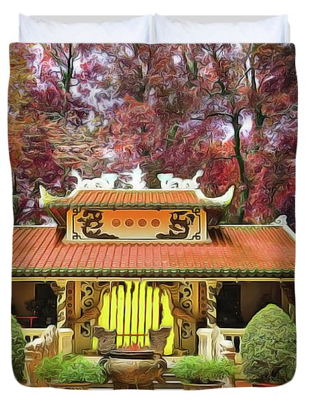 Duvet Cover featuring the painting Pagoda by Harry Warrick