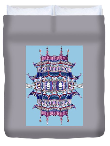 Duvet Cover featuring the photograph Pagoda Tower Becomes Chinese Lantern 2 Chinatown Chicago by Marianne Dow