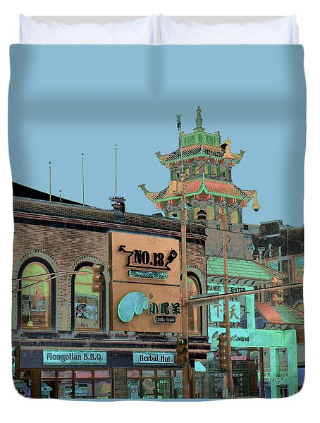 Duvet Cover featuring the photograph Pagoda Tower Chinatown Chicago by Marianne Dow