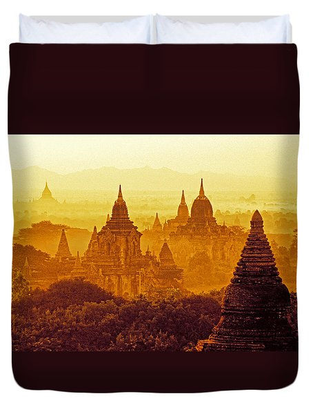 Duvet Cover featuring the photograph Pagodas by Dennis Cox WorldViews