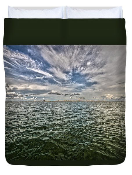 Paint Brush Sky - Ft Myers Beach Duvet Cover