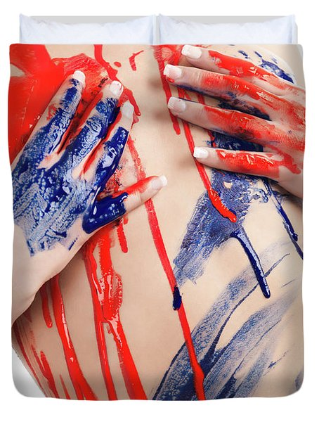 Paint On Woman Body Duvet Cover by Oleksiy Maksymenko