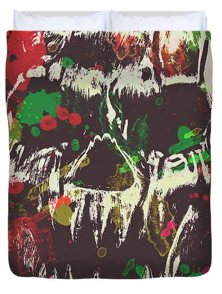 Paint Splash Skull Duvet Cover