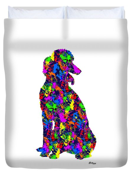 Paint Splatter Poodle Duvet Cover