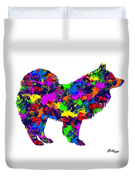 Paint Splatter Samoyed Dog Duvet Cover