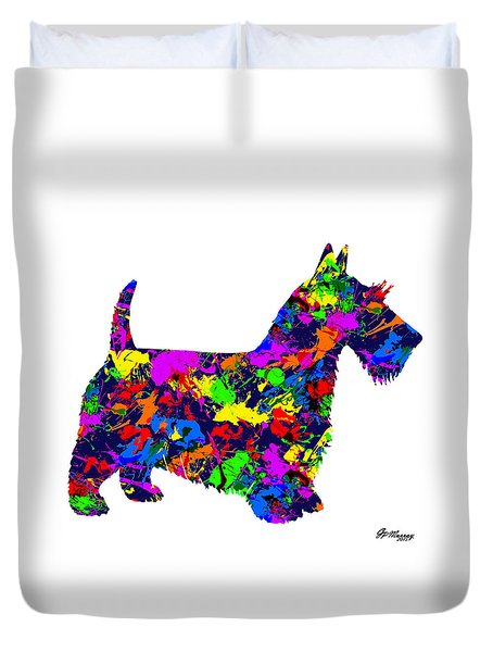 Paint Splatter Scottish Terrier Duvet Cover