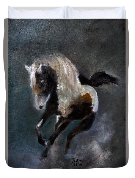 Duvet Cover featuring the painting Paint Stallion by Barbie Batson