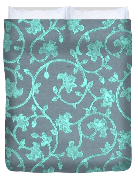 Painted Electric Blue Damask On Bermuda Gray Linen Duvet Cover