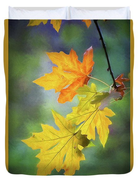 Painted Autumn Leaves Duvet Cover