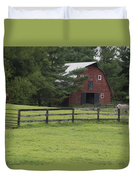 Painted Barn With Horses Duvet Cover by Will Burlingham