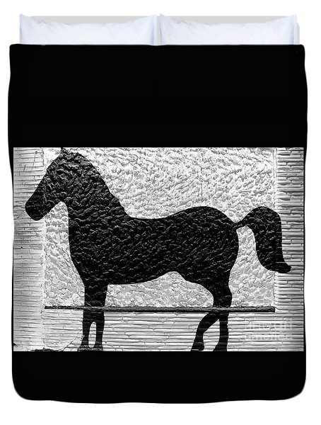 Duvet Cover featuring the photograph Painted Black - Stone Pony by Colleen Kammerer