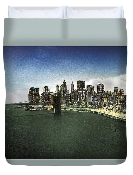 Duvet Cover featuring the photograph Painted City by Dave Beckerman
