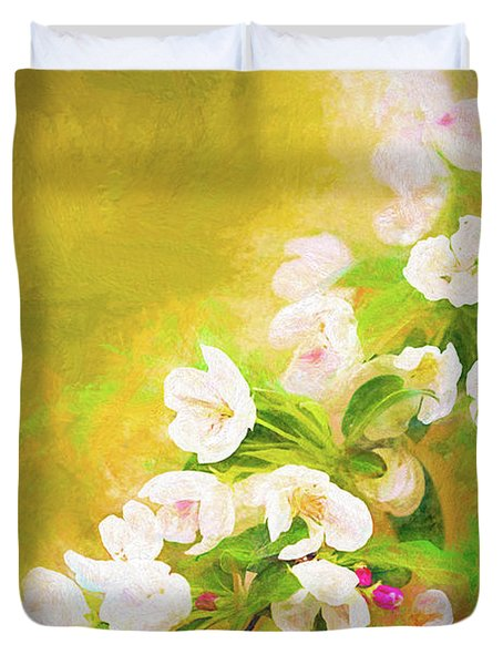 Painted Crabapple Blossoms In The Golden Evening Light Duvet Cover
