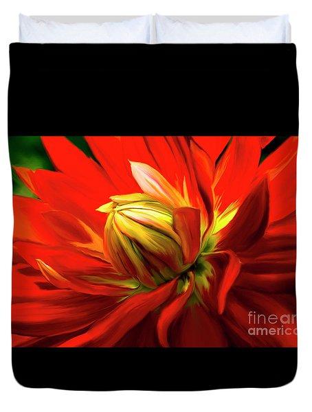 Painted Dahlia In Full Bloom Duvet Cover