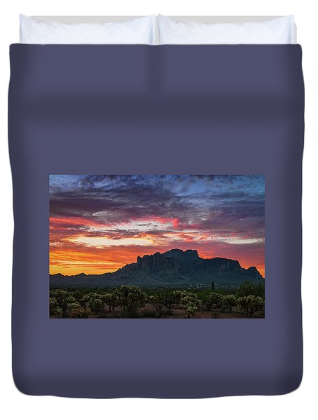 Duvet Cover featuring the photograph Painted Desert Skies Over The Supes  by Saija Lehtonen