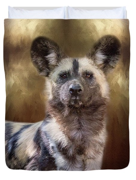 Duvet Cover featuring the digital art Painted Dog Portrait II by Nicole Wilde