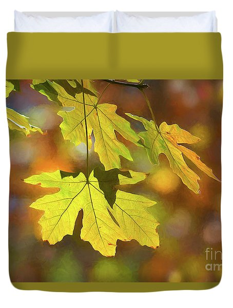 Painted Golden Leaves Duvet Cover