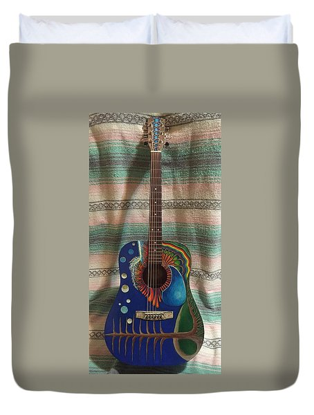 Duvet Cover featuring the mixed media Painted Guitar by Steve  Hester