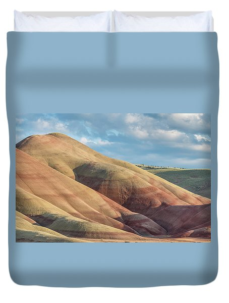 Duvet Cover featuring the photograph Painted Hill And Clouds by Greg Nyquist