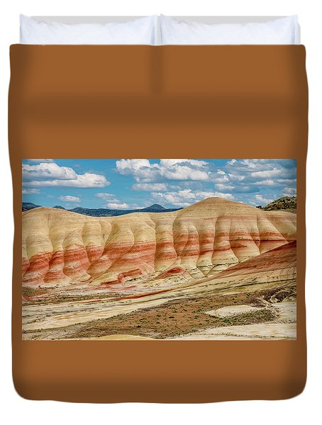 Duvet Cover featuring the photograph Painted Hills And Afternoon Sky by Greg Nyquist