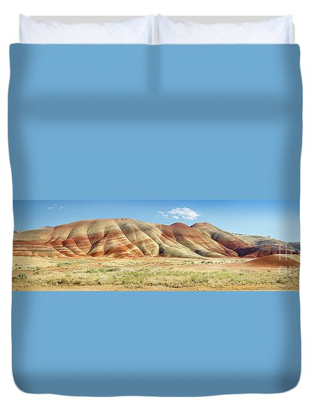 Painted Hills Pano 1 Duvet Cover by Jerry Fornarotto