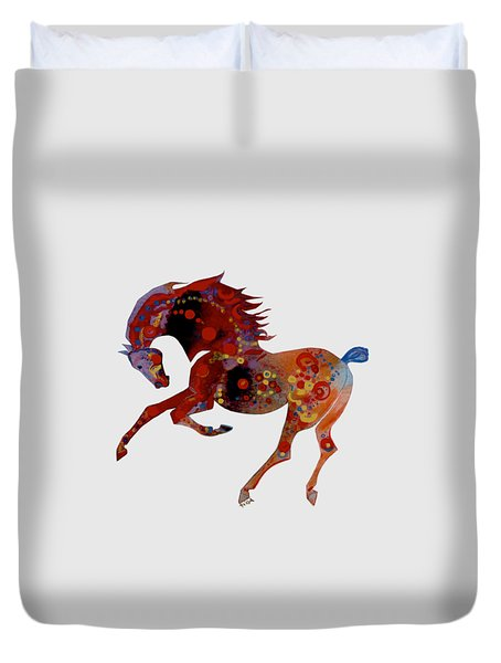 Painted Horse 3 Duvet Cover by Mary Armstrong