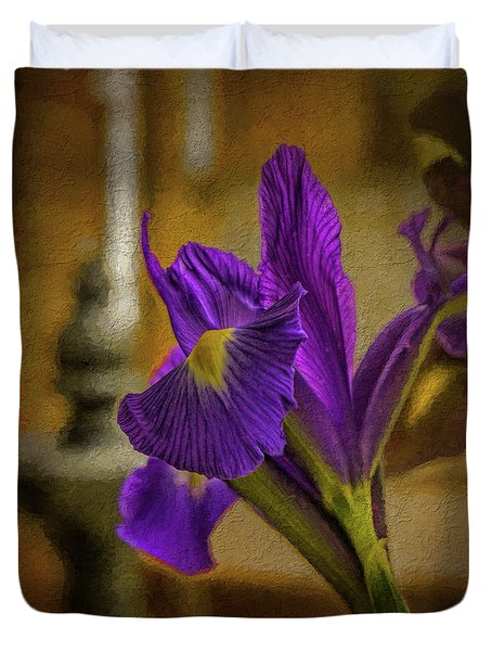 Painted Iris Duvet Cover