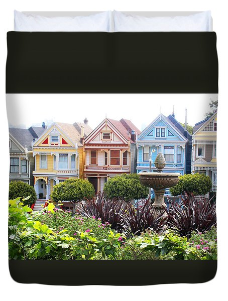 Painted Ladies San Francisco Duvet Cover by Cheryl Del Toro