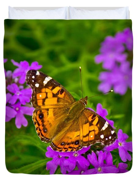 Painted Lady On Purple Verbena Duvet Cover