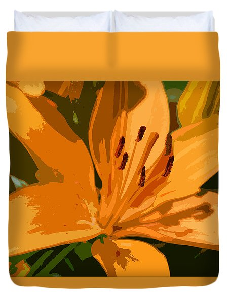 Duvet Cover featuring the photograph Painted Lily by Kathleen Stephens
