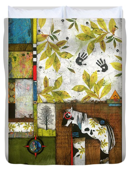 Painted Mare, Shaggy Bark Hickory  Duvet Cover