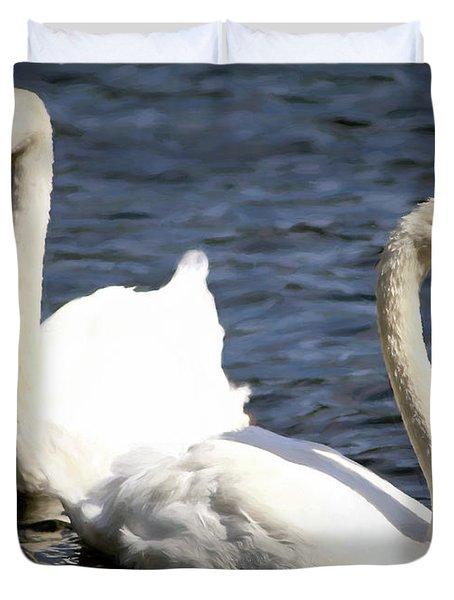 Painted Mute Swans Of Lake Junaluska North Carolina II Duvet Cover
