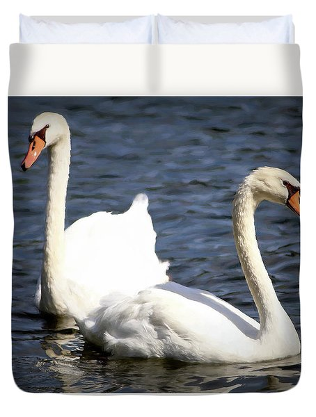 Painted Mute Swans Of Lake Junaluska North Carolina II Duvet Cover