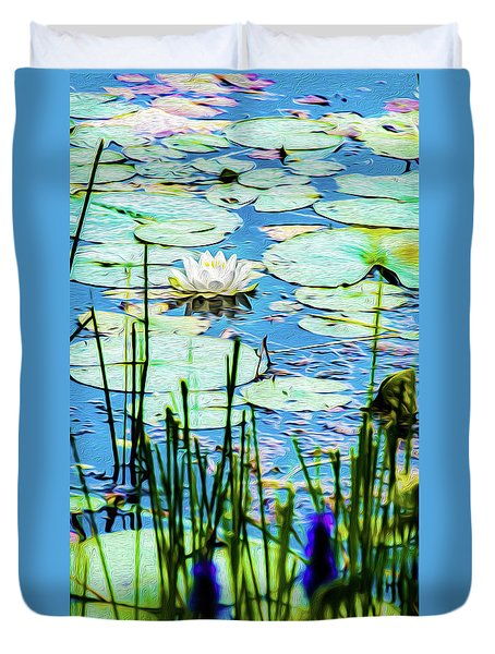 Duvet Cover featuring the mixed media Painted North American White Water Lily by Onyonet  Photo Studios