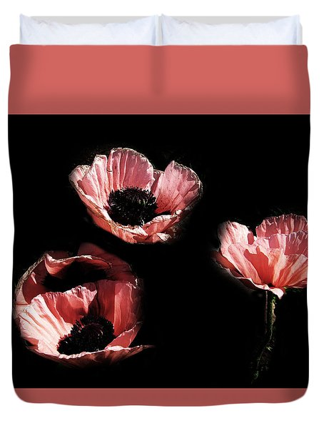 Painted Peach Poppies Duvet Cover
