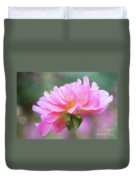 Painted Pink Dahlia Duvet Cover