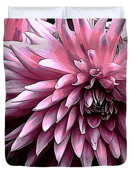 Painted Pink Dahlia Duvet Cover by Erica Hanel