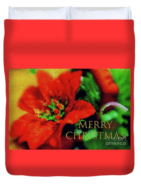 Painted Poinsettia Merry Christmas Duvet Cover by Sandy Moulder