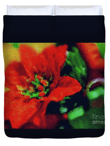 Painted Poinsettia Duvet Cover by Sandy Moulder