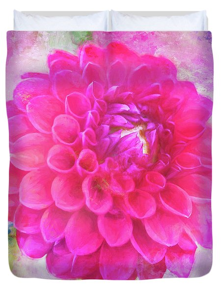 Painted Pompom Dahlia With The Works Duvet Cover