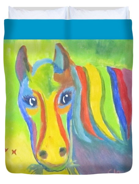 Duvet Cover featuring the painting Painted Pony by Cathy Long