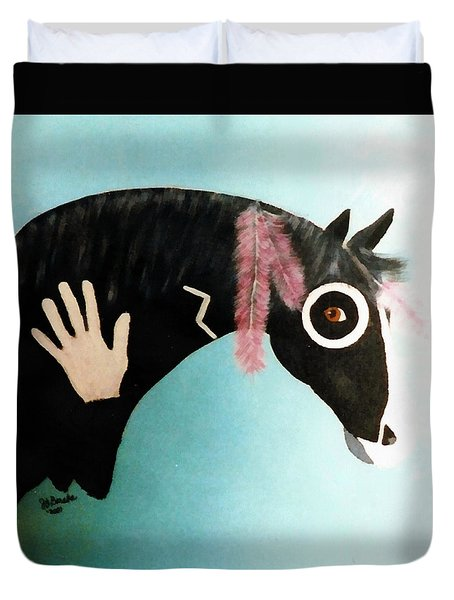 Painted Pony With Feather Duvet Cover