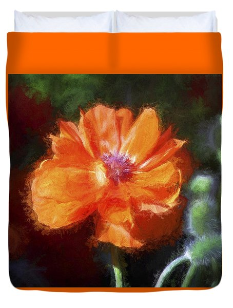 Duvet Cover featuring the photograph Painted Poppy by Christina Lihani