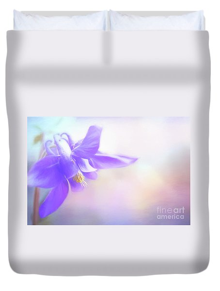 Painted Purple Columbine Duvet Cover