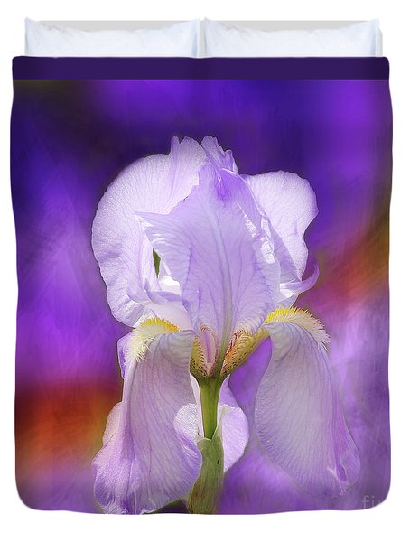 Painted Purple Iris Duvet Cover