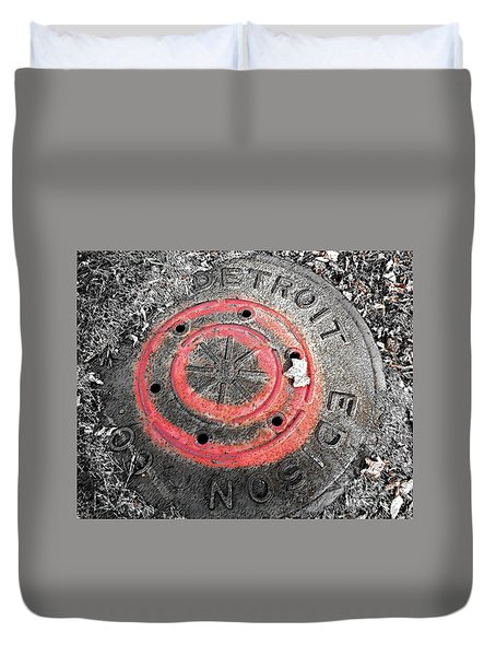Painted Red Manhole Cover Duvet Cover by Sandra Church