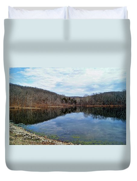 Duvet Cover featuring the photograph Painted Rock Conservation Area by Cricket Hackmann