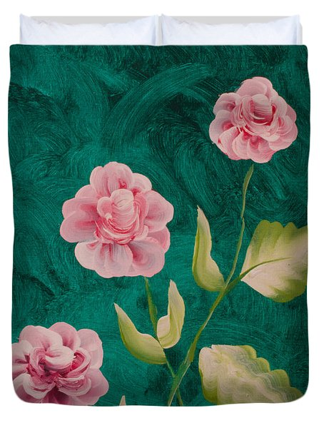 Painted Roses Duvet Cover by Donna Brown